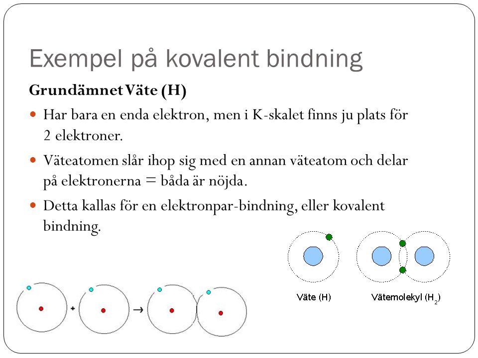 Exempel på kovalent bindning