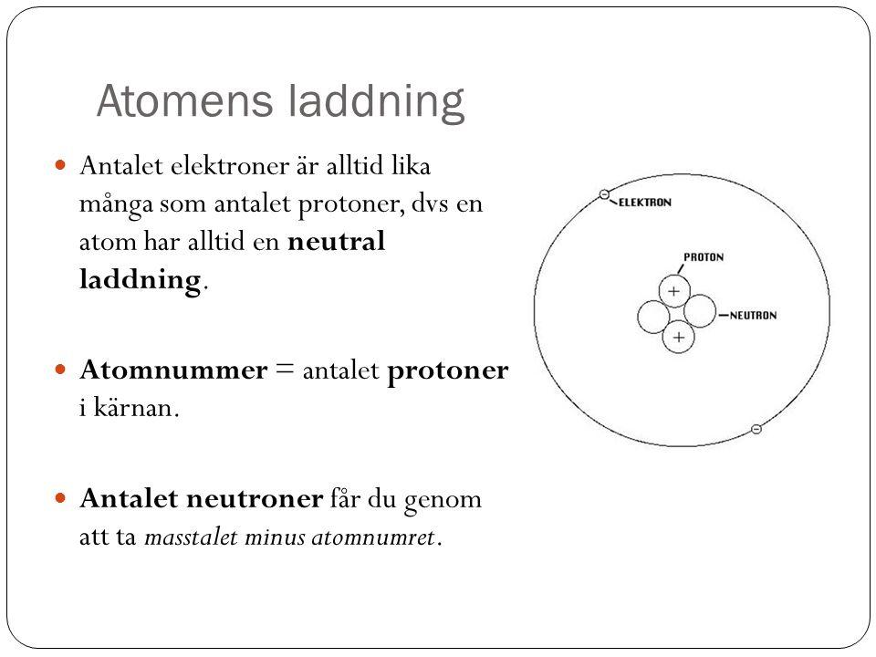 Atomens laddning Antalet elektroner är alltid lika många som antalet protoner, dvs en atom har alltid en neutral laddning.