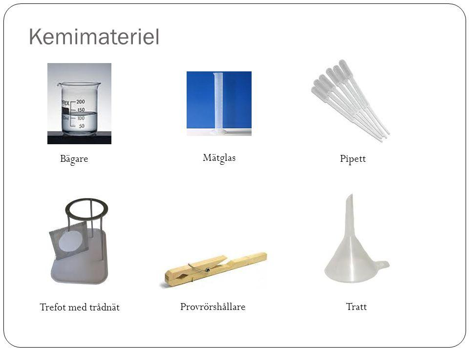 Kemimateriel Bägare Mätglas Pipett Trefot med trådnät Provrörshållare