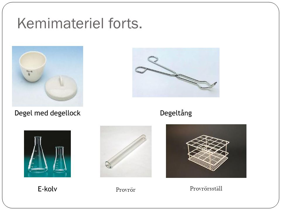 Kemimateriel forts. Provrör Provrörsställ