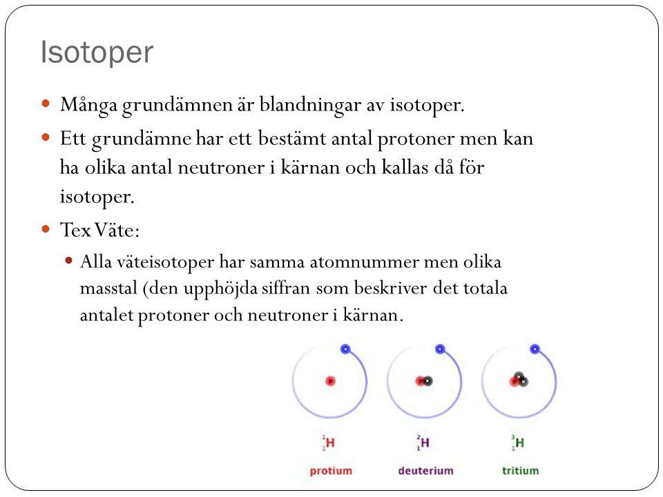 Isotoper Många grundämnen är blandningar av isotoper.