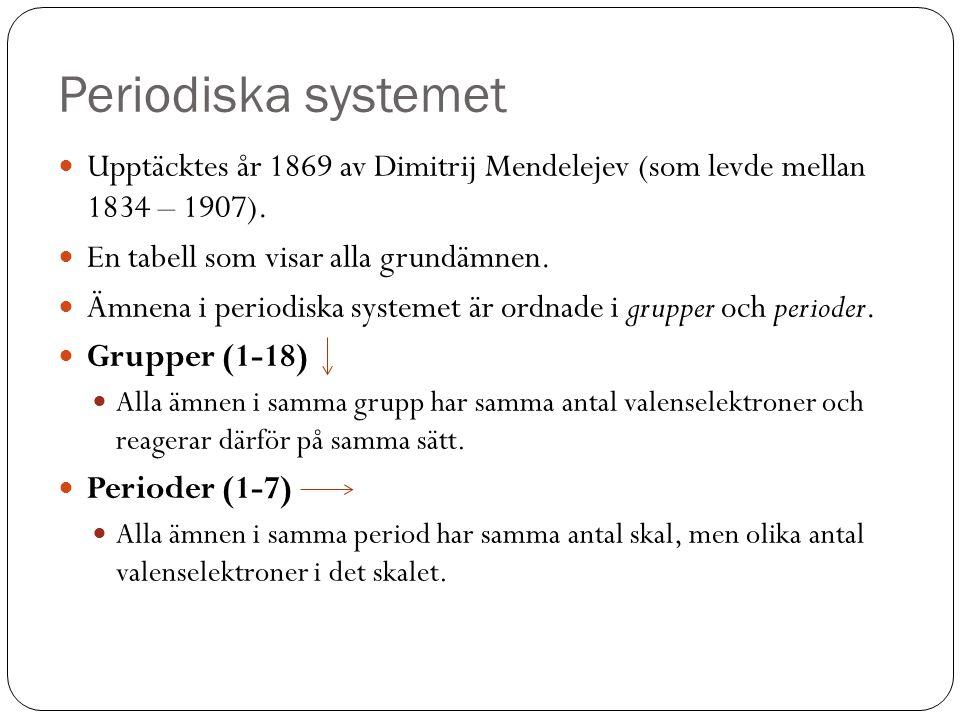 Periodiska systemet Upptäcktes år 1869 av Dimitrij Mendelejev (som levde mellan 1834 – 1907). En tabell som visar alla grundämnen.