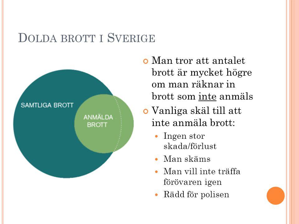 Dolda brott i Sverige Man tror att antalet brott är mycket högre om man räknar in brott som inte anmäls.