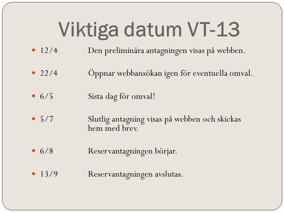 Viktiga datum VT-13 12/4 Den preliminära antagningen visas på webben.