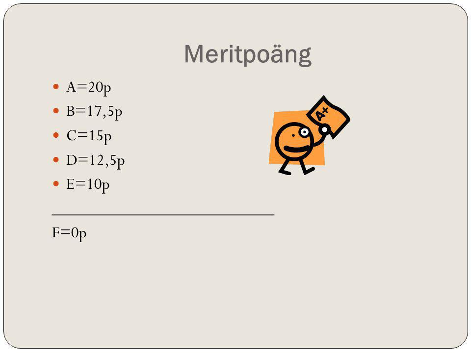Meritpoäng A=20p B=17,5p C=15p D=12,5p E=10p