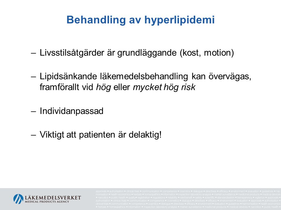Behandling av hyperlipidemi