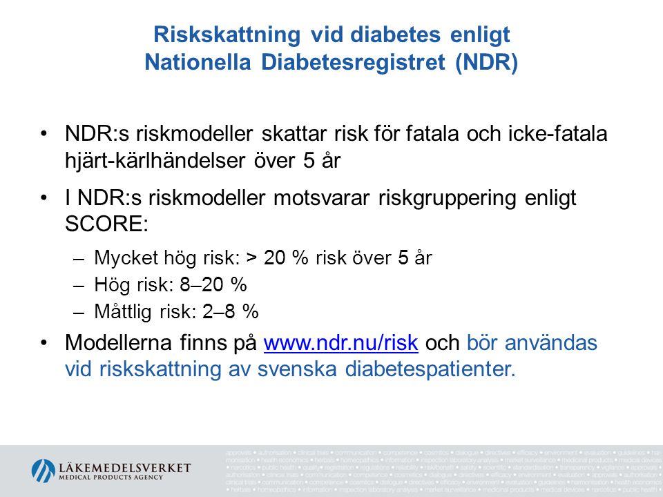 Riskskattning vid diabetes enligt Nationella Diabetesregistret (NDR)