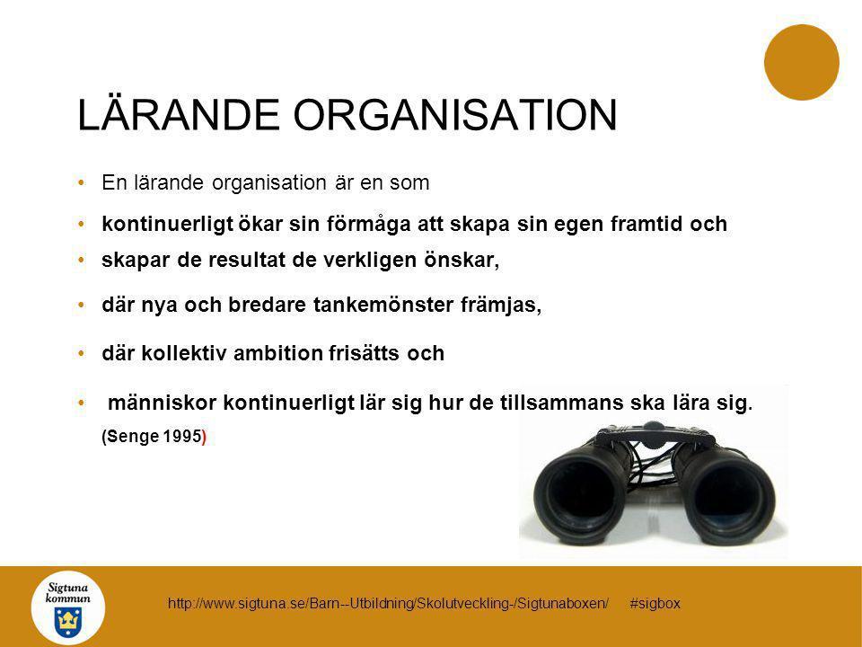 LÄRANDE ORGANISATION En lärande organisation är en som