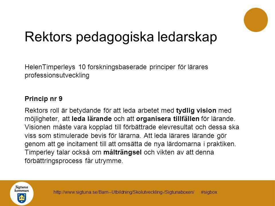 Rektors pedagogiska ledarskap