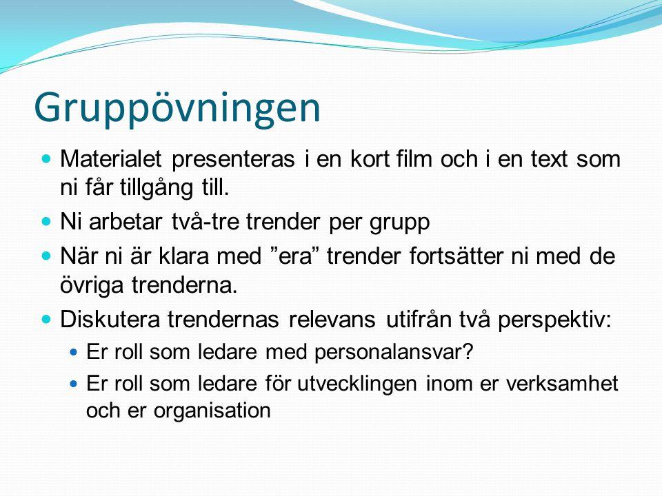 Gruppövningen Materialet presenteras i en kort film och i en text som ni får tillgång till. Ni arbetar två-tre trender per grupp.