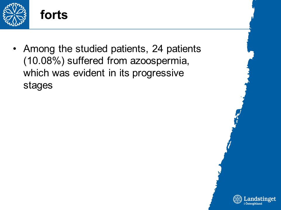 forts Among the studied patients, 24 patients (10.08%) suffered from azoospermia, which was evident in its progressive stages.