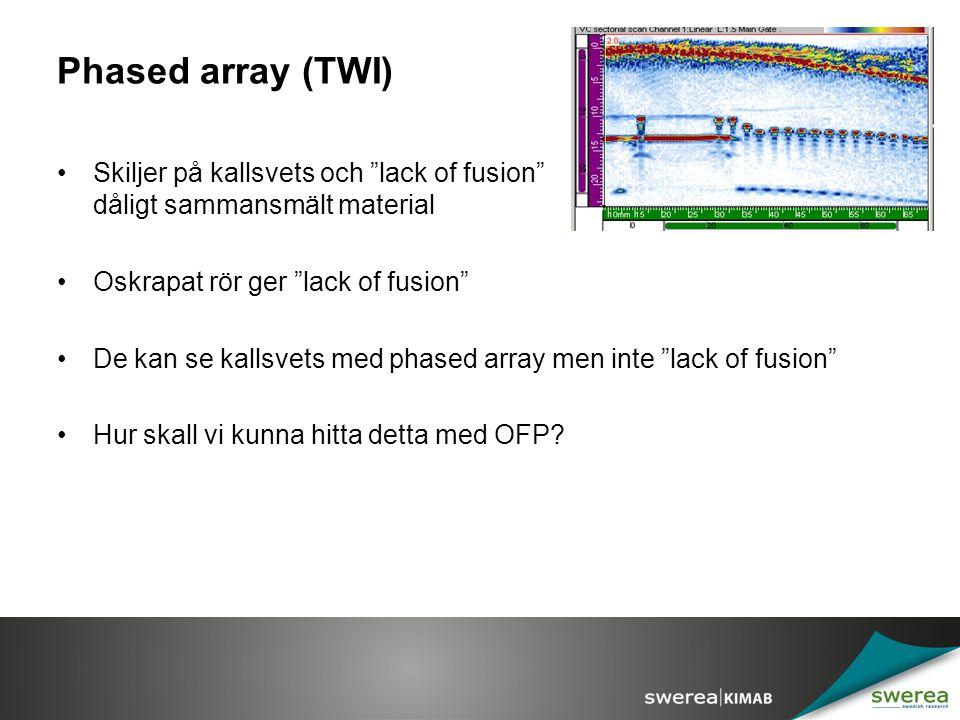 Phased array (TWI) Skiljer på kallsvets och lack of fusion dvs dåligt sammansmält material.