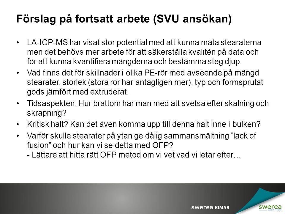 Förslag på fortsatt arbete (SVU ansökan)