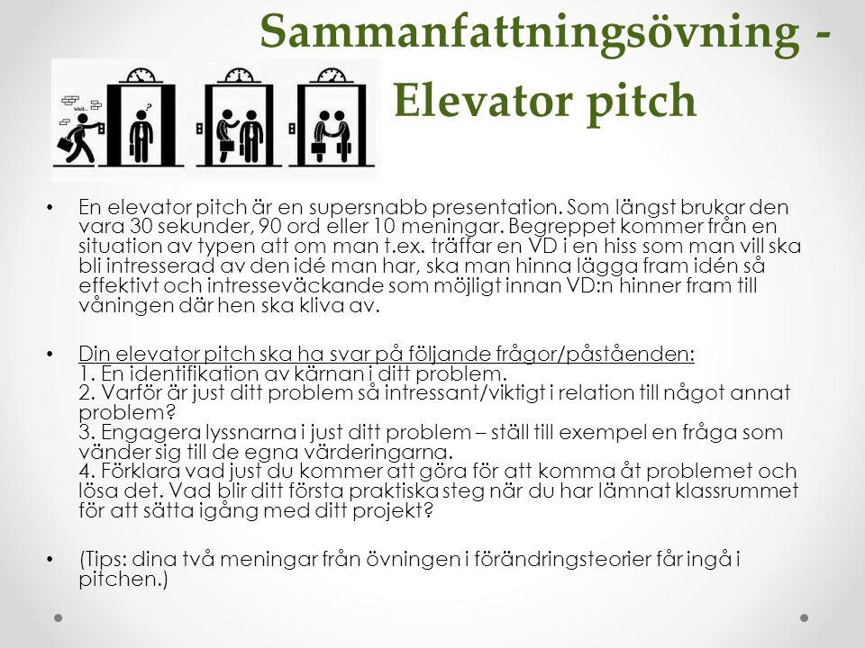 Sammanfattningsövning - Elevator pitch