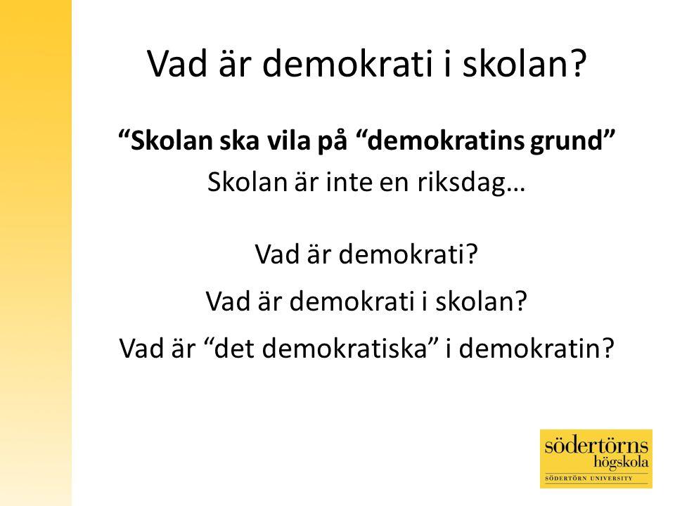 Vad är demokrati i skolan