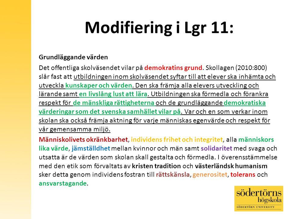Modifiering i Lgr 11: