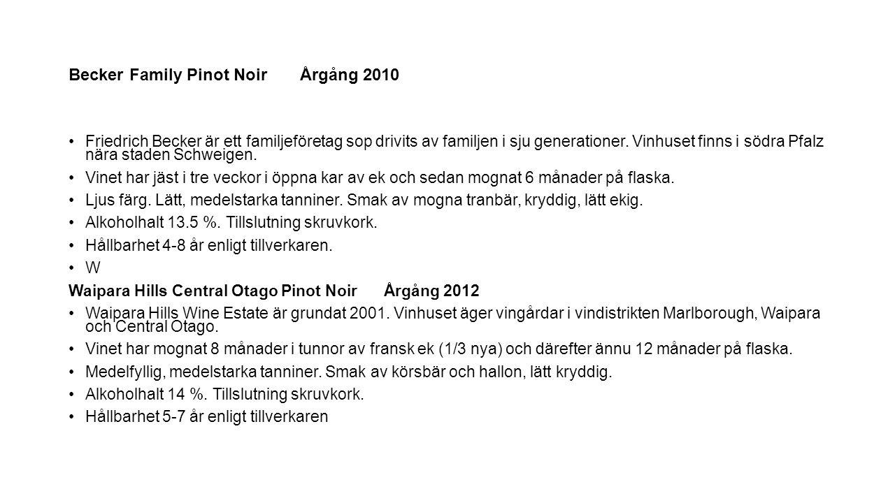 Becker Family Pinot Noir Årgång 2010