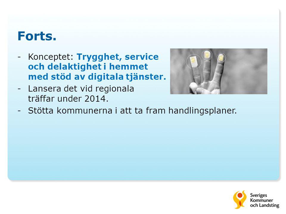 Forts. Konceptet: Trygghet, service och delaktighet i hemmet med stöd av digitala tjänster. Lansera det vid regionala träffar under 2014.