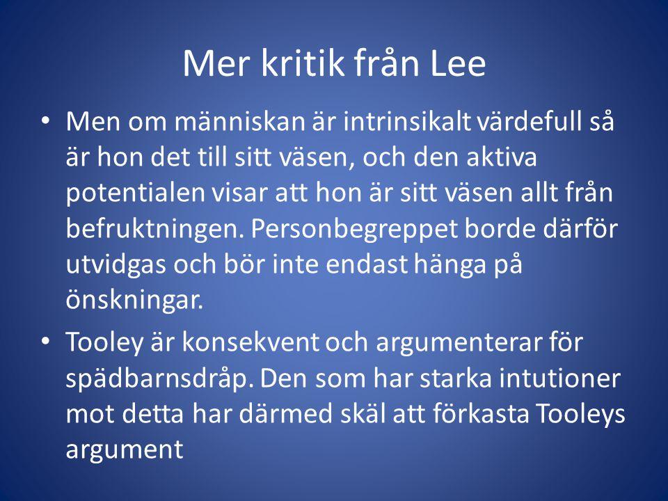 Mer kritik från Lee