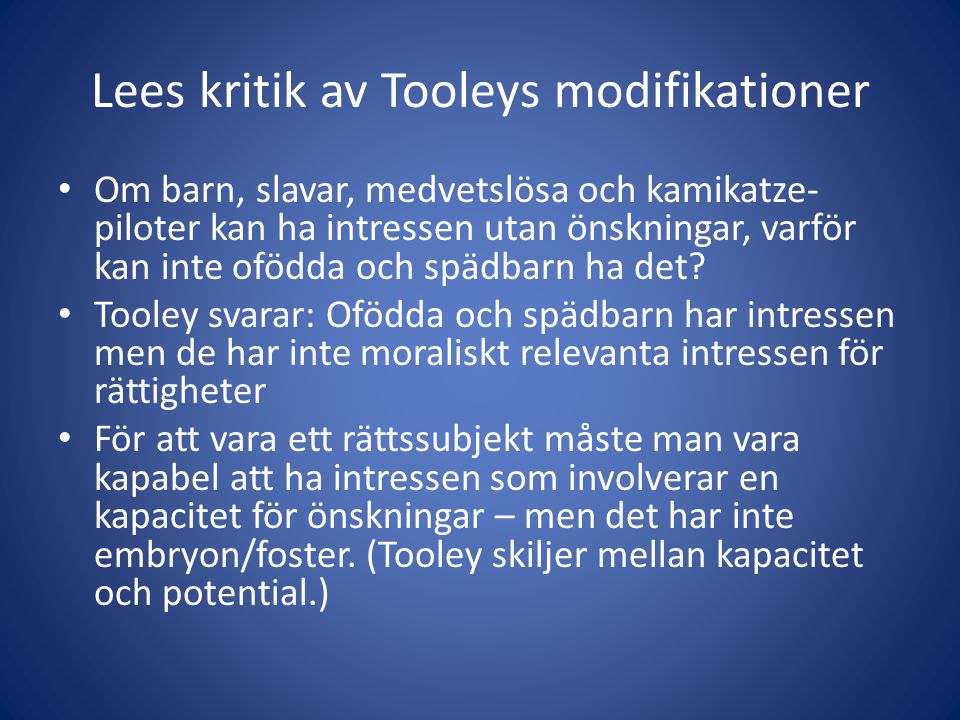 Lees kritik av Tooleys modifikationer