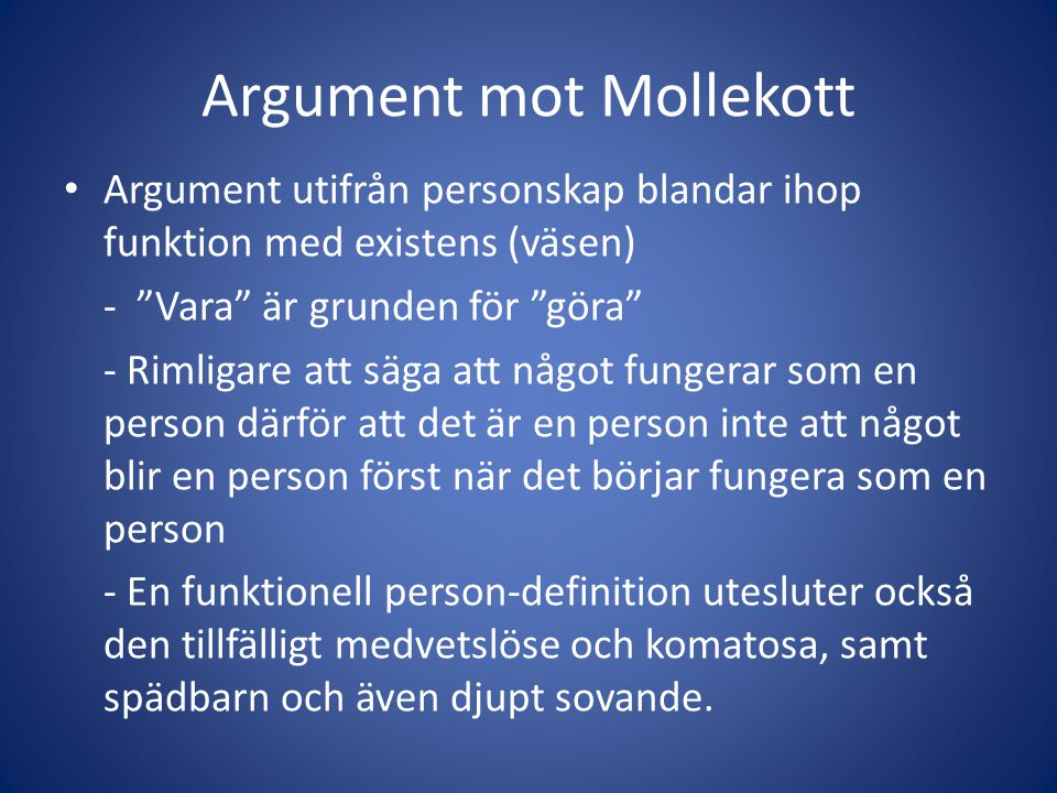 Argument mot Mollekott