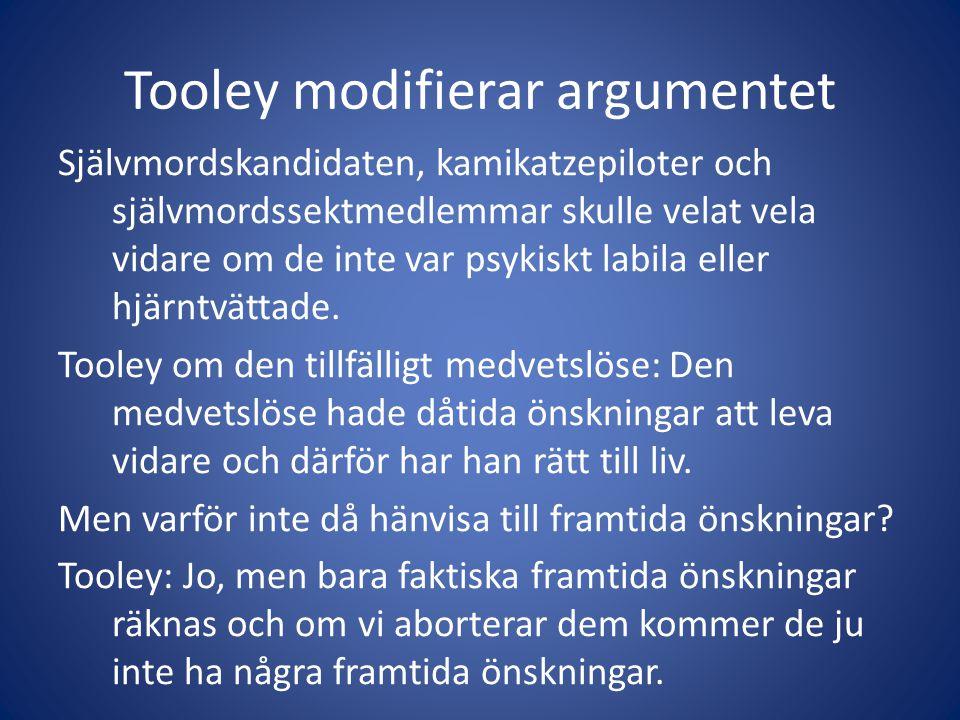 Tooley modifierar argumentet