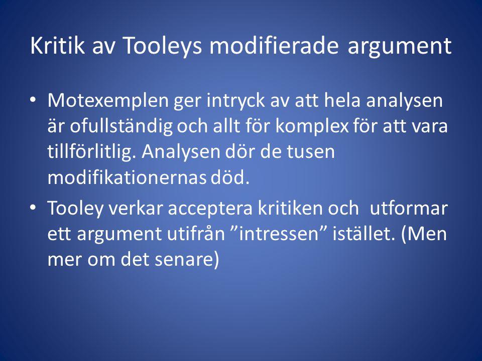 Kritik av Tooleys modifierade argument