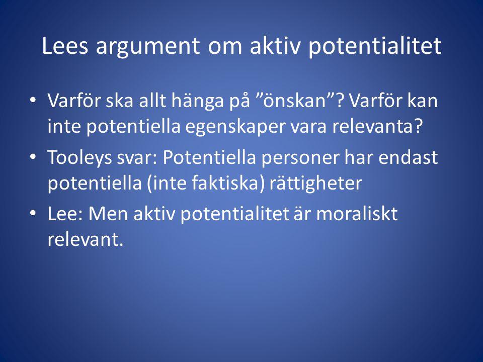 Lees argument om aktiv potentialitet