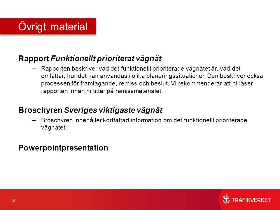 Övrigt material Rapport Funktionellt prioriterat vägnät