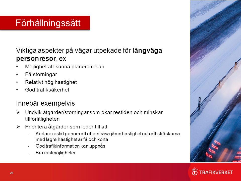 Förhållningssätt Viktiga aspekter på vägar utpekade för långväga personresor, ex. Möjlighet att kunna planera resan.