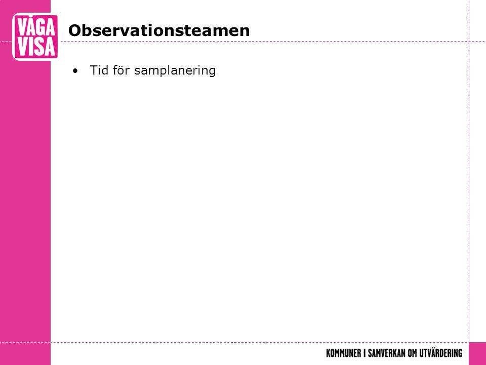 Observationsteamen Tid för samplanering