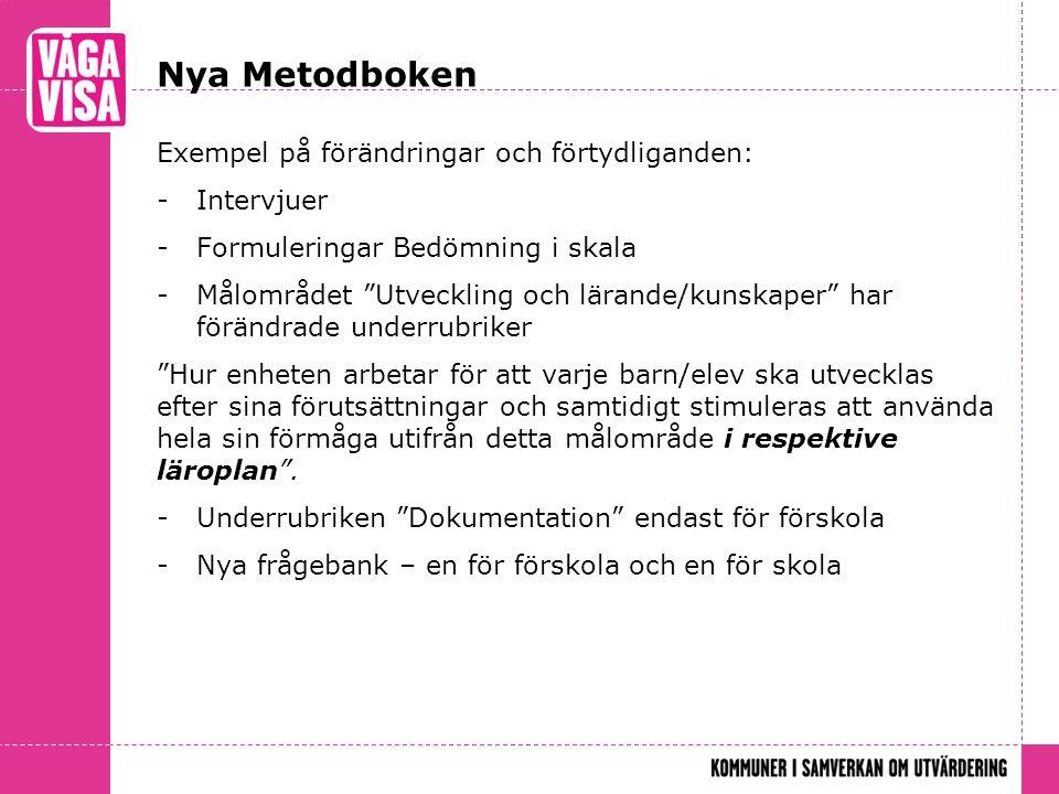 Nya Metodboken Exempel på förändringar och förtydliganden: Intervjuer