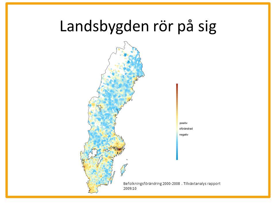 Landsbygden rör på sig Befolkningsförändring 2000-2008 . Tillväxtanalys rapport 2009:10