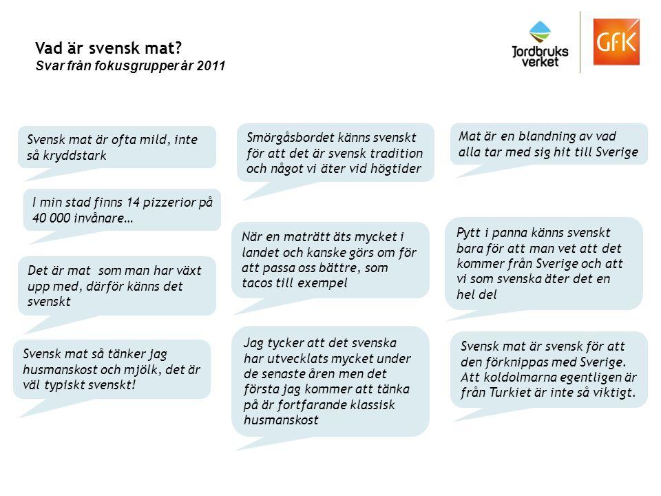 Vad är svensk mat Svar från fokusgrupper år 2011