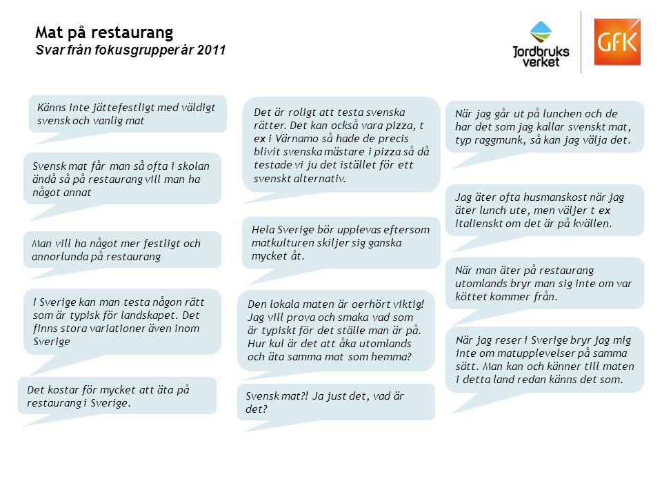Mat på restaurang Svar från fokusgrupper år 2011