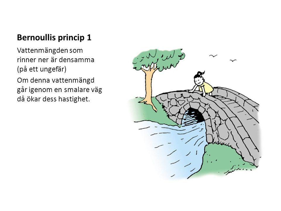Bernoullis princip 1 Vattenmängden som rinner ner är densamma (på ett ungefär)