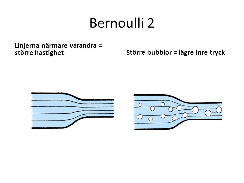 Bernoulli 2 Linjerna närmare varandra = större hastighet