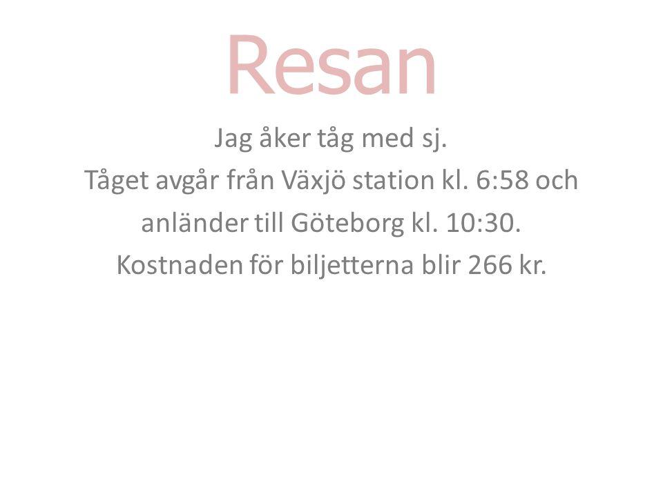 Resan Jag åker tåg med sj. Tåget avgår från Växjö station kl.
