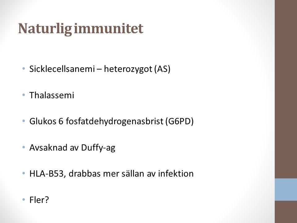 Naturlig immunitet Sicklecellsanemi – heterozygot (AS) Thalassemi