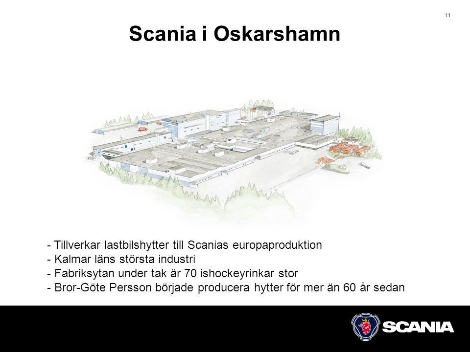 Scania i Oskarshamn - Tillverkar lastbilshytter till Scanias europaproduktion. - Kalmar läns största industri.