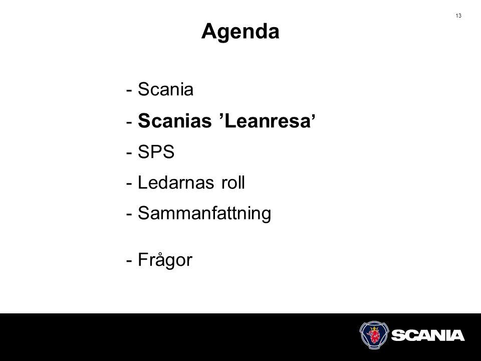 Agenda Scania Scanias 'Leanresa' SPS Ledarnas roll Sammanfattning