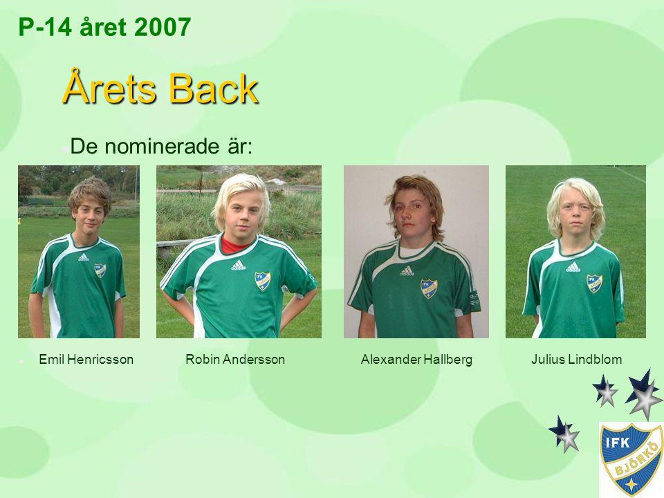 Årets Back P-14 året 2007 De nominerade är: