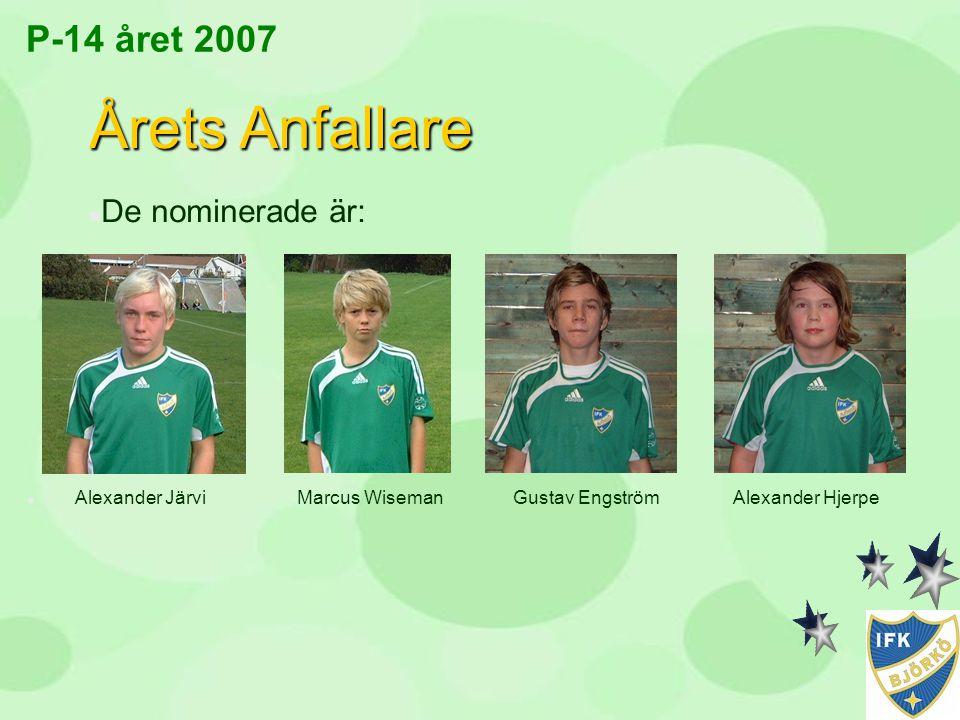 Årets Anfallare P-14 året 2007 De nominerade är: