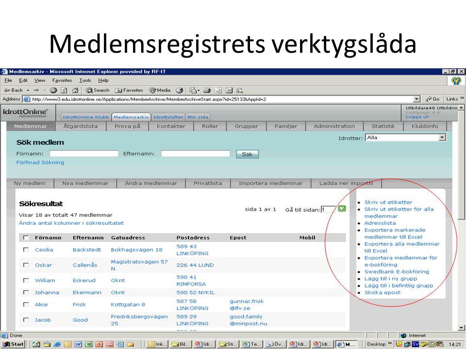 Medlemsregistrets verktygslåda