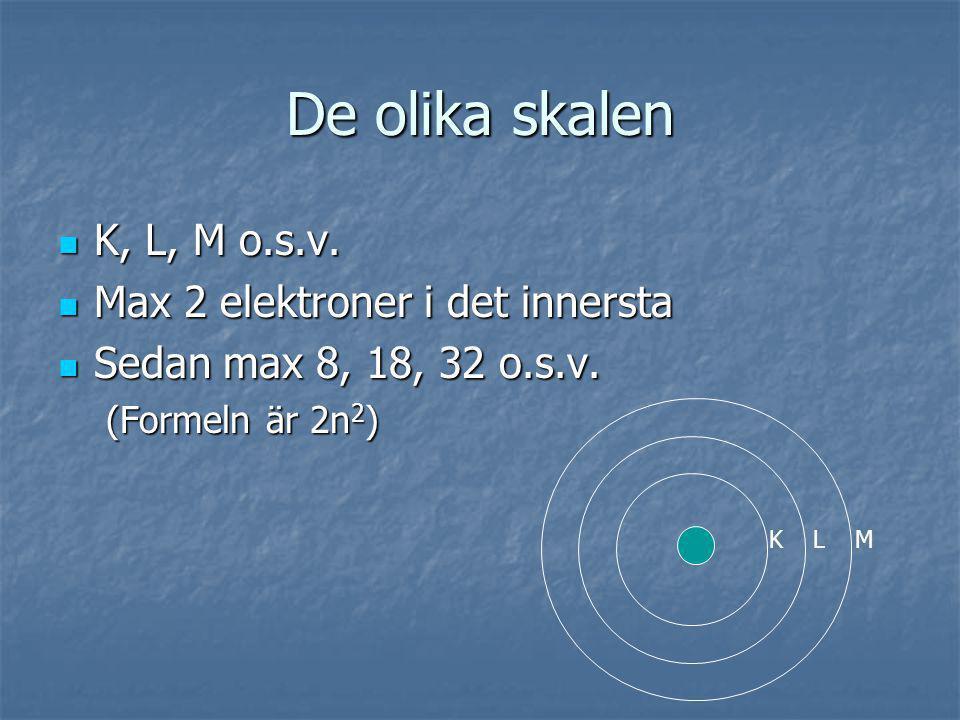De olika skalen K, L, M o.s.v. Max 2 elektroner i det innersta