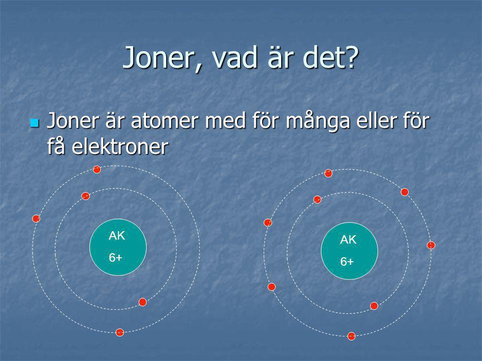 Joner, vad är det Joner är atomer med för många eller för få elektroner AK 6+ AK 6+