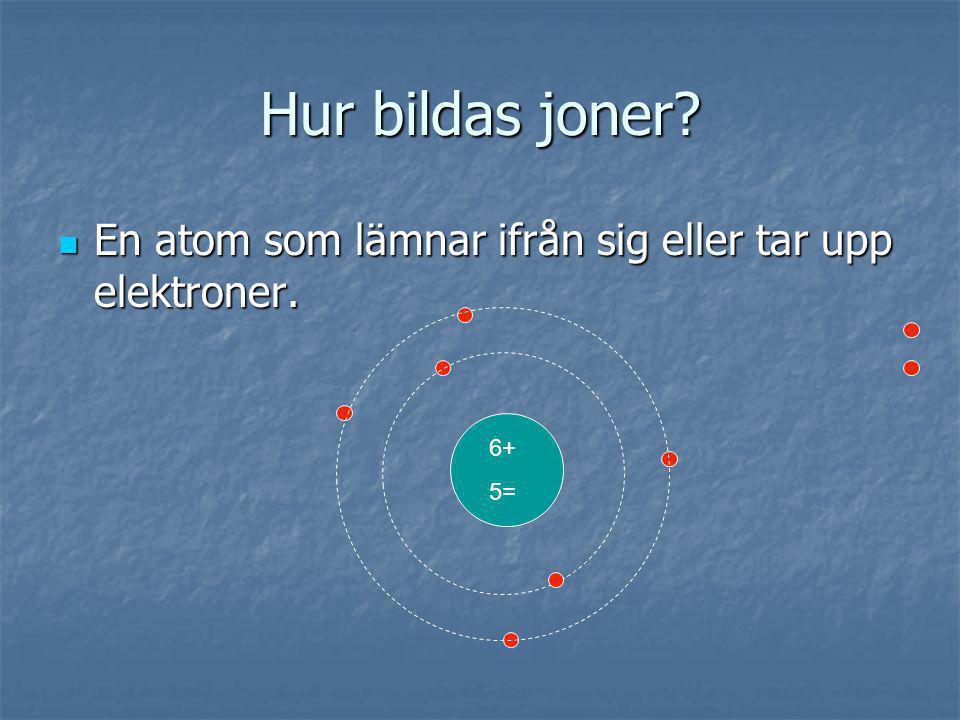Hur bildas joner En atom som lämnar ifrån sig eller tar upp elektroner. 6+ 5=