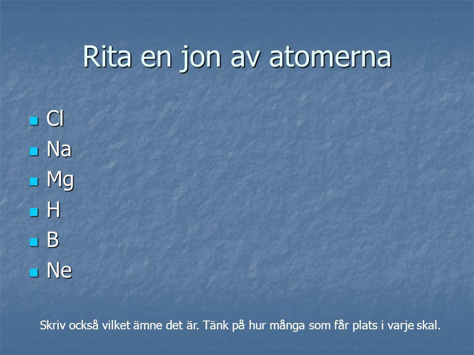 Rita en jon av atomerna Cl Na Mg H B Ne