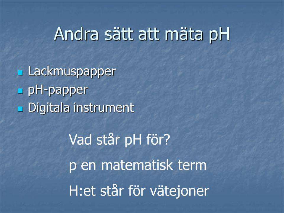 Andra sätt att mäta pH Vad står pH för p en matematisk term