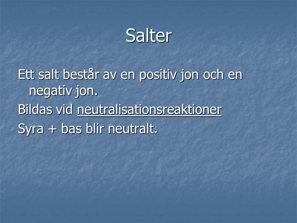 Salter Ett salt består av en positiv jon och en negativ jon.